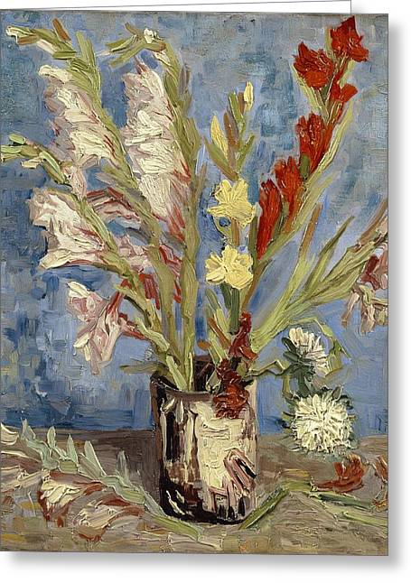 Vase With Gladioli And China Asters Greeting Card by Vincent van Gogh