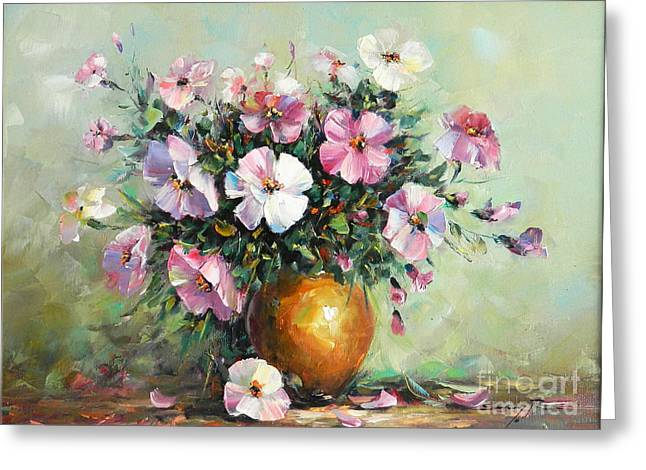 Vase With Petunias Greeting Card by Petrica Sincu