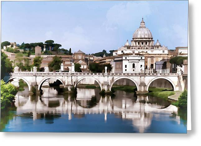 Vatican City Seen From Tiber River In Rome Italy Greeting Card