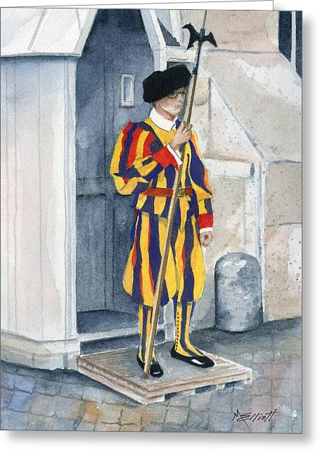 Vatican Guard Greeting Card by Marsha Elliott