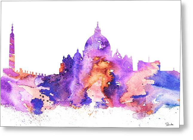 Vatican Greeting Card by Watercolor Girl