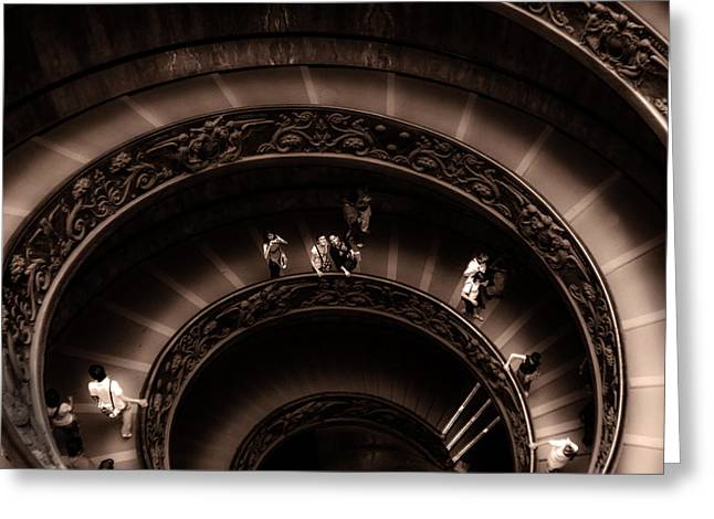 Greeting Card featuring the photograph Vatican Museum Spiral Staircase by Rob Tullis