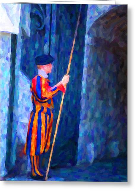 Vatican Swiss Guard Greeting Card by Hakon Soreide