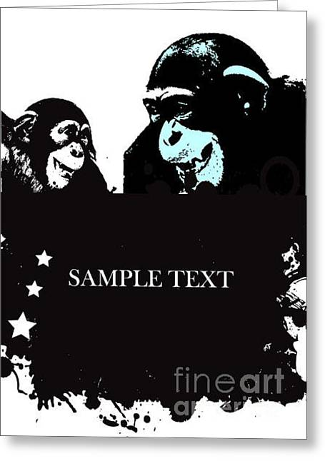 Vector Abstract Background With Monkey Greeting Card