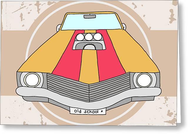 Vector American Muscle Car. Retro Car Greeting Card