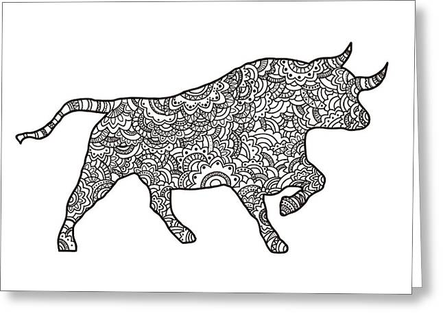 Vector Boho Bull For  Coloring Book For Greeting Card