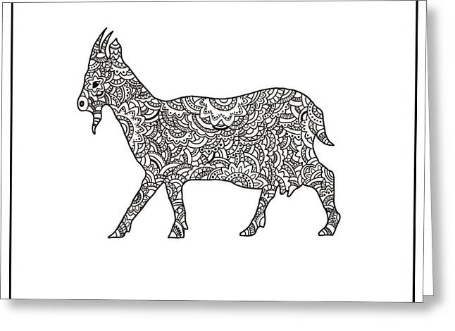 Vector Boho Goat For Coloring Book For Greeting Card