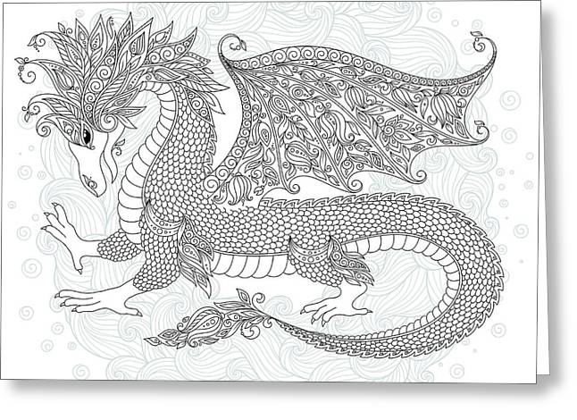 Vector Cartoon Dragon. Hand Drawn Greeting Card