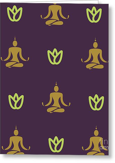 Vector Design Yoga Pose Pattern Greeting Card