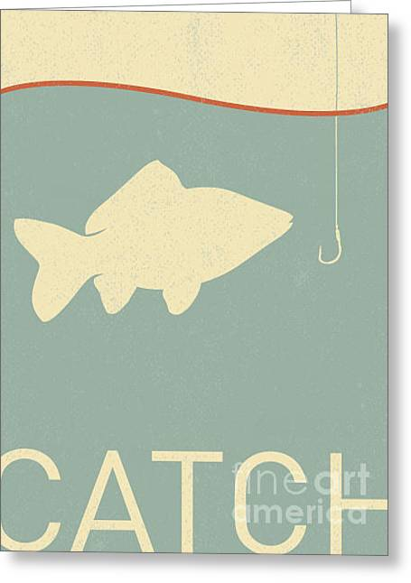 Vector Fish And Fish Hook - Retro Greeting Card by Norph