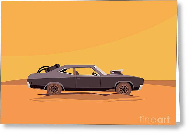 Vector Flat Illustration Of A Vehicle Greeting Card