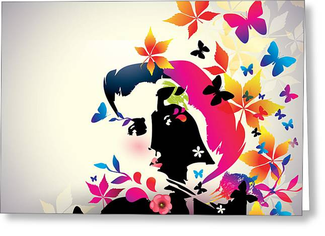Vector Floral Girl Greeting Card