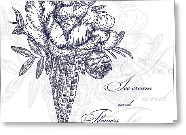 Vector Flowers In Waffle Cone. Bouquet Greeting Card