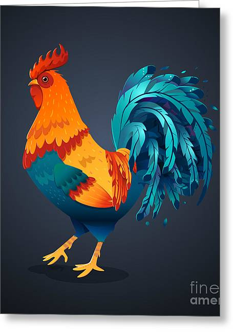 Vector Illustration Bright Rooster On A Greeting Card