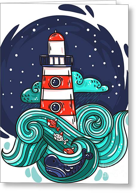 Vector Illustration Lighthouse In Storm Greeting Card