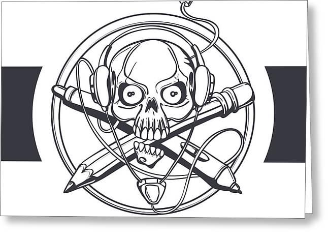Vector Illustration Of A Black Skull Greeting Card
