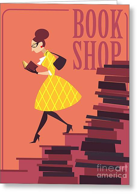 Vector Illustration Of Bookstore, Books Greeting Card by Porcelain White