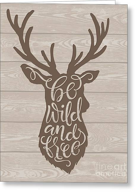 Vector Illustration Of Deer Silhouette Greeting Card by Bariskina