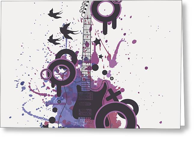 Vector Illustration Of Electric Guitar Greeting Card
