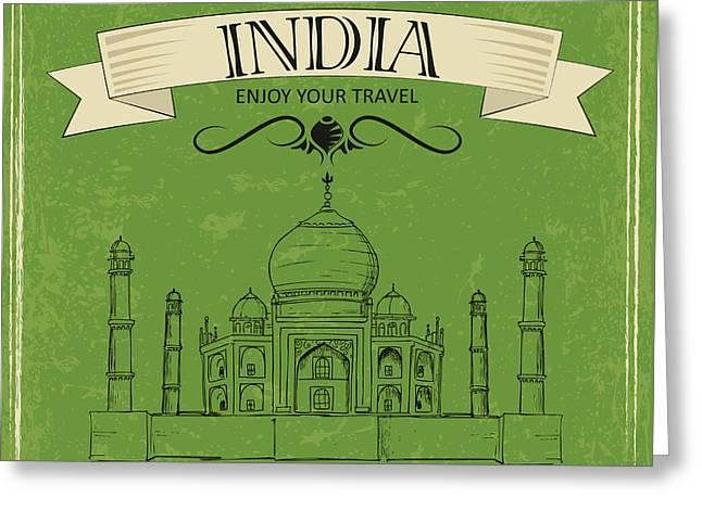Vector Illustration Of Taj Mahal Of Greeting Card
