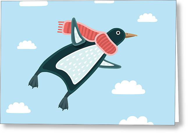 Vector Illustration Of The Flying Greeting Card