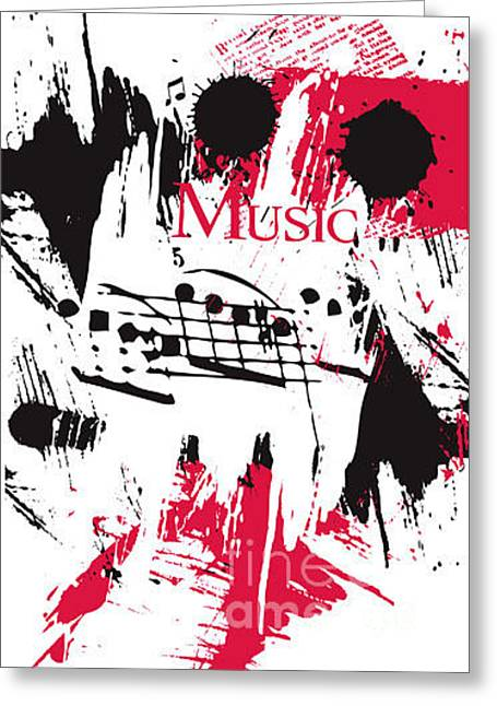 Vector Music On A Grunge Background Greeting Card