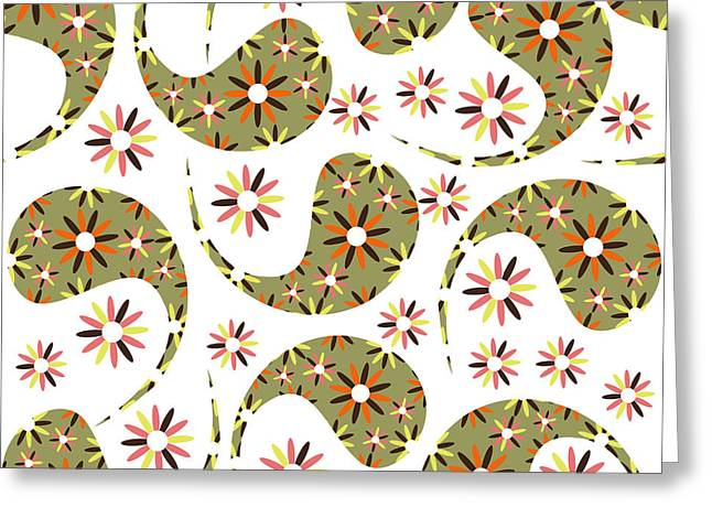 Vector Paisley Seamless Pattern And Greeting Card