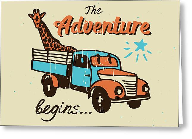 Vector Poster The Adventure Begins Greeting Card