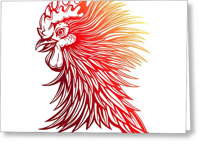 Vector Red Rooster Head Illustration Greeting Card