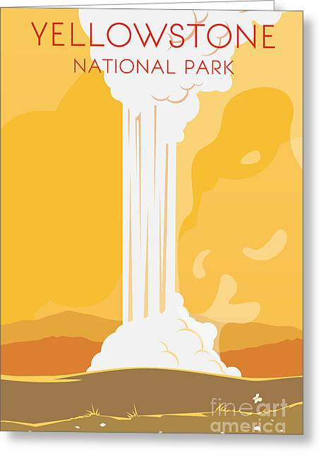 Vector Retro Poster. Yellowstone Greeting Card