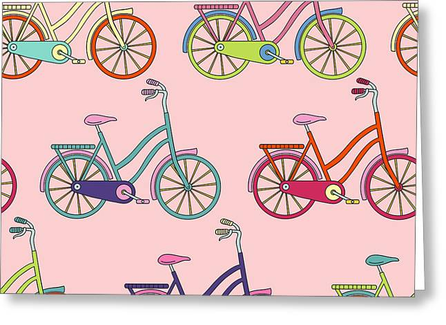 Vector Seamless Pattern With Bicycle Greeting Card by Maria galybina