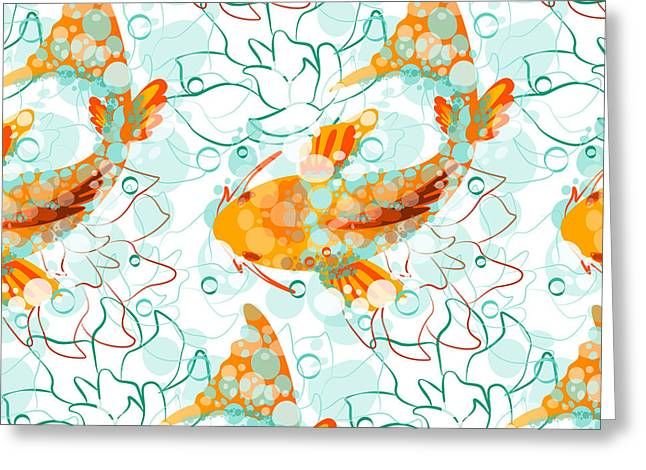 Vector Seamless Pattern With Koi Fish Greeting Card
