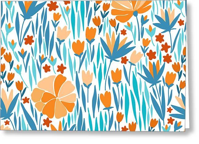 Vector Seamless Pattern With Summer Greeting Card