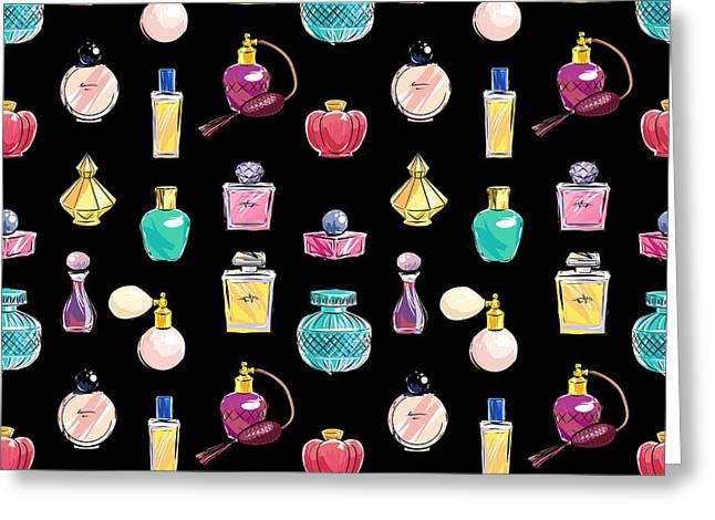 Vector Seamless Perfume Pattern Greeting Card