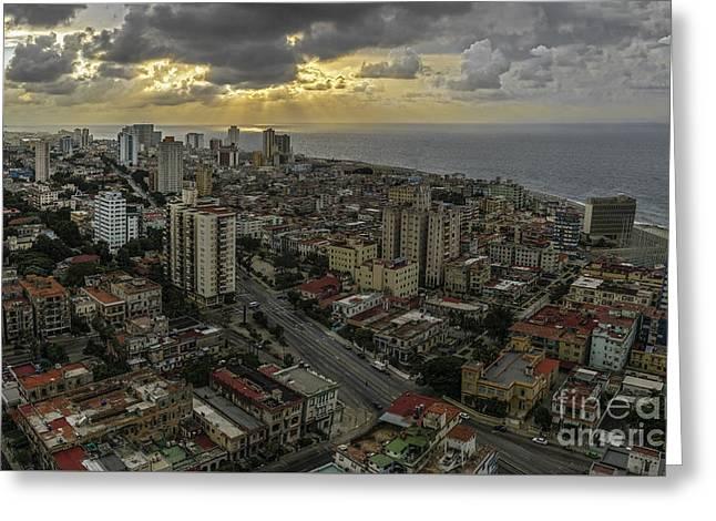 Vedado Havana City Sunset Greeting Card