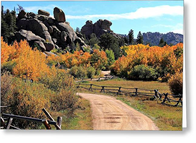 Vedauwoo Gold Greeting Card by Ron Latimer