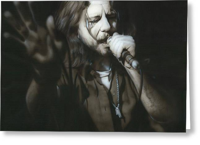 Eddie Vedder - ' Vedder IIi ' Greeting Card by Christian Chapman Art
