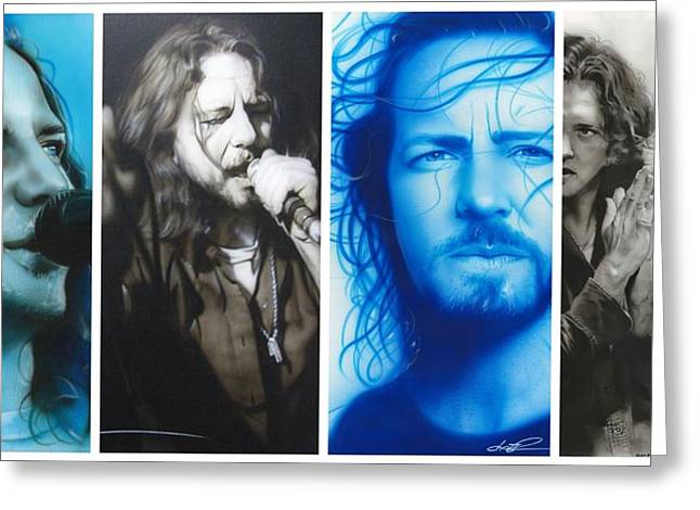 Eddie Vedder - ' Vedder Mosaic I ' Greeting Card by Christian Chapman Art