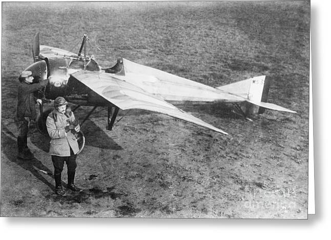 Vedrines And His Military Aircraft, 1910s Greeting Card by Library Of Congress