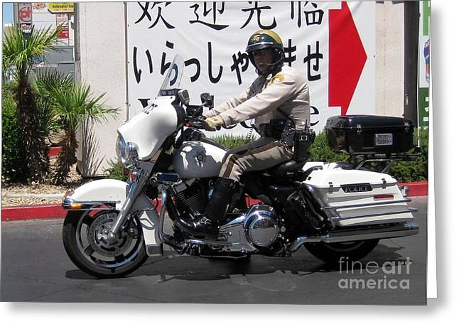Vegas Motorcycle Cop Greeting Card by John Malone