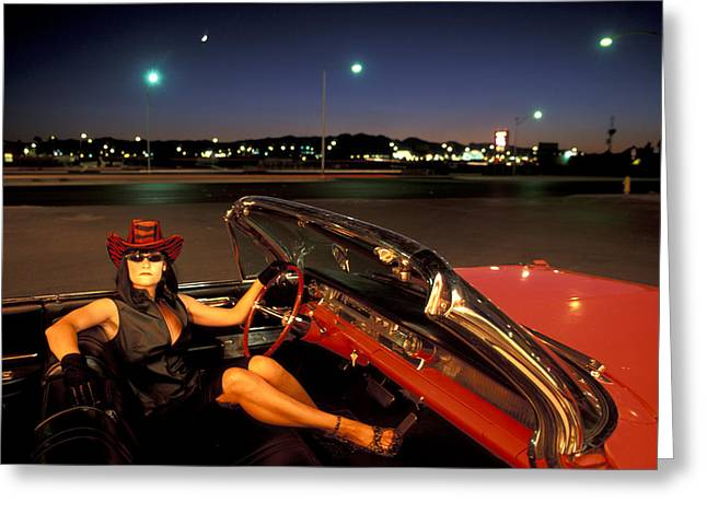 Vegas Night Greeting Card by Christian Heeb