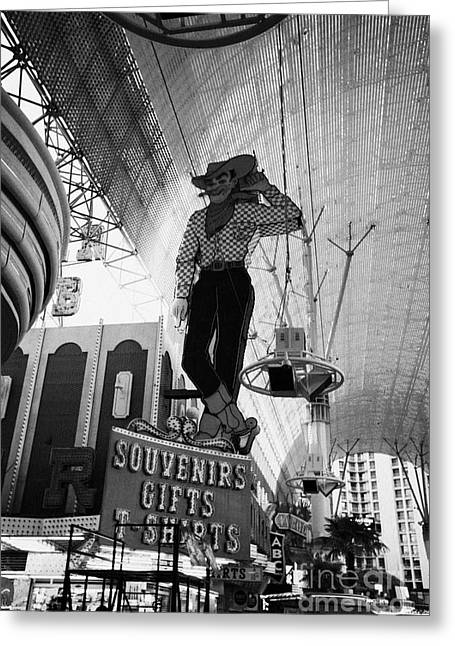 vegas vic cowboy sign at the freemont street experience during the day Las Vegas Nevada USA Greeting Card