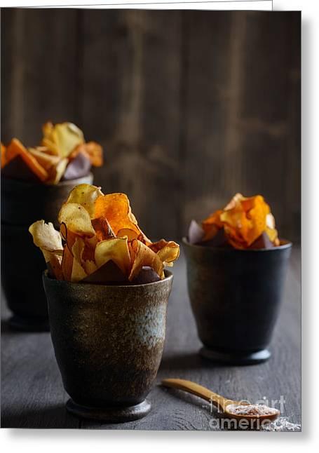 Vegetable Crisps Greeting Card by Amanda Elwell