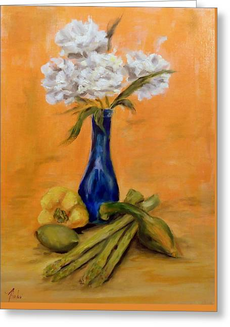 Vegetable Flower Still Life Greeting Card