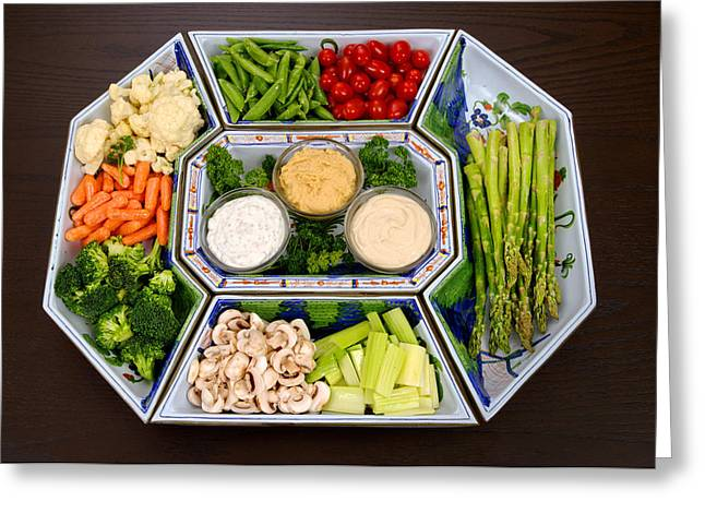 Vegetable Platter And Dips Greeting Card by Science Source