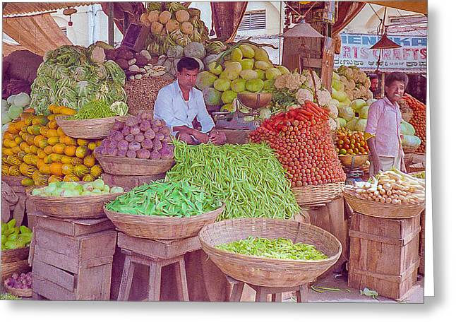 Vegetable Seller In Indian Market Greeting Card