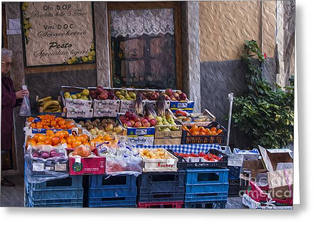 Vegetable Stand Italy Greeting Card by Patricia Hofmeester