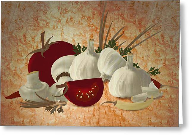 Vegetable Still Life Marquetry Greeting Card