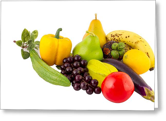 Vegetables And Fruits Greeting Card by Henry MM