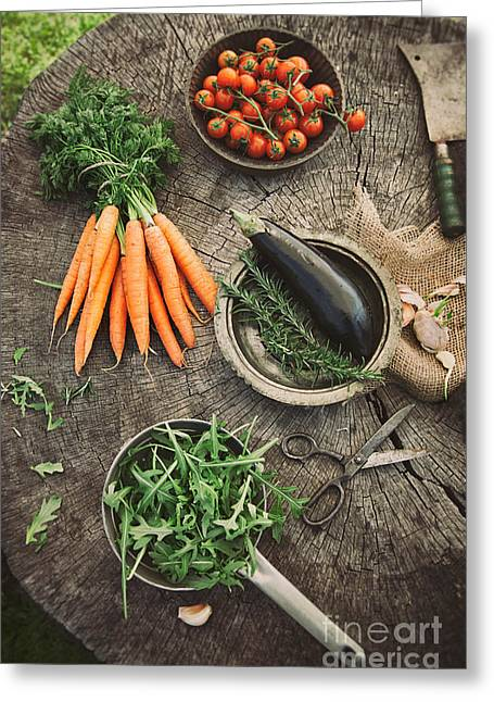 Vegetables From Garden Greeting Card by Mythja  Photography